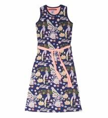 LoveStation22 Maxi jurk vogeltjes Nora, coral en blauw, maat 86/92