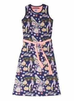 LoveStation22 Maxi jurk vogeltjes Nora, coral en blauw