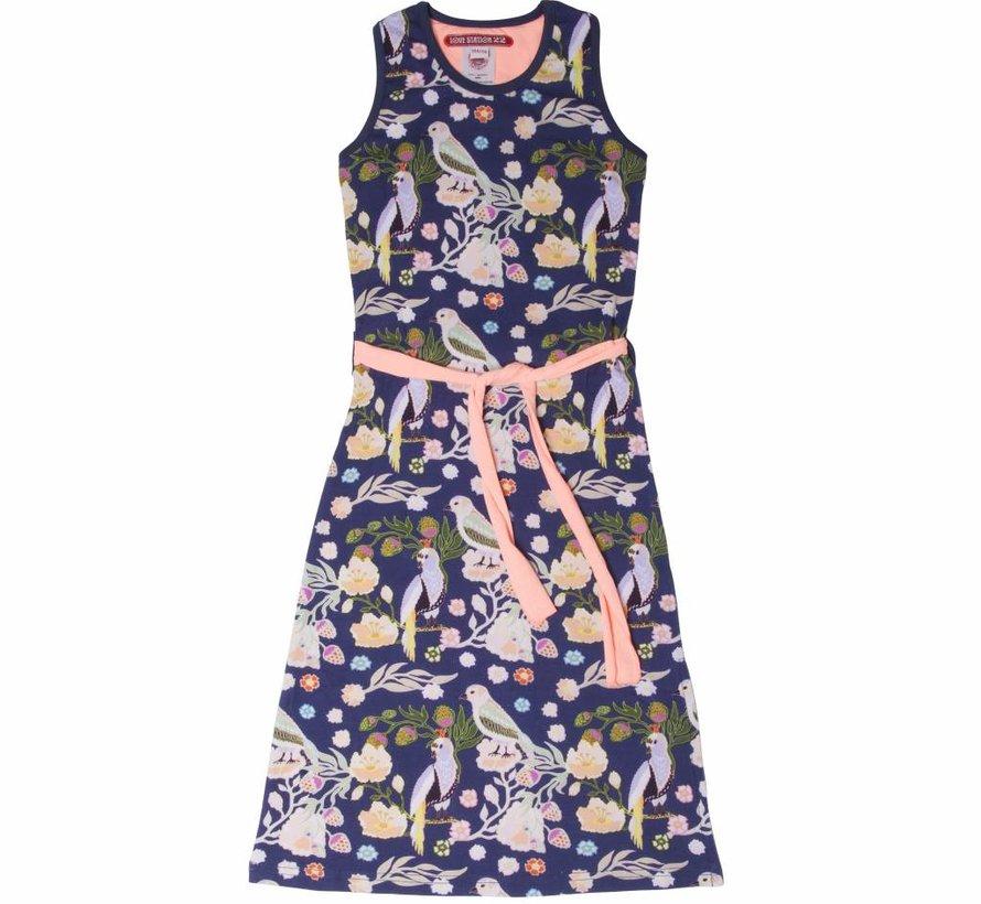 Maxi jurk Nora met vogeltjes, coral/blauw,, mt 86/92 en 98/104