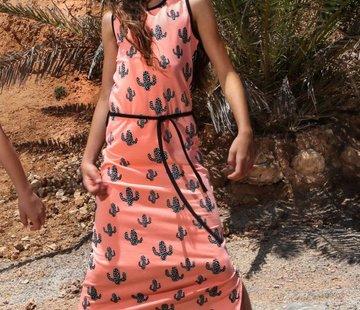 LoveStation22 Maxi jurk Linde, coral/zwartwit, maat 86/92
