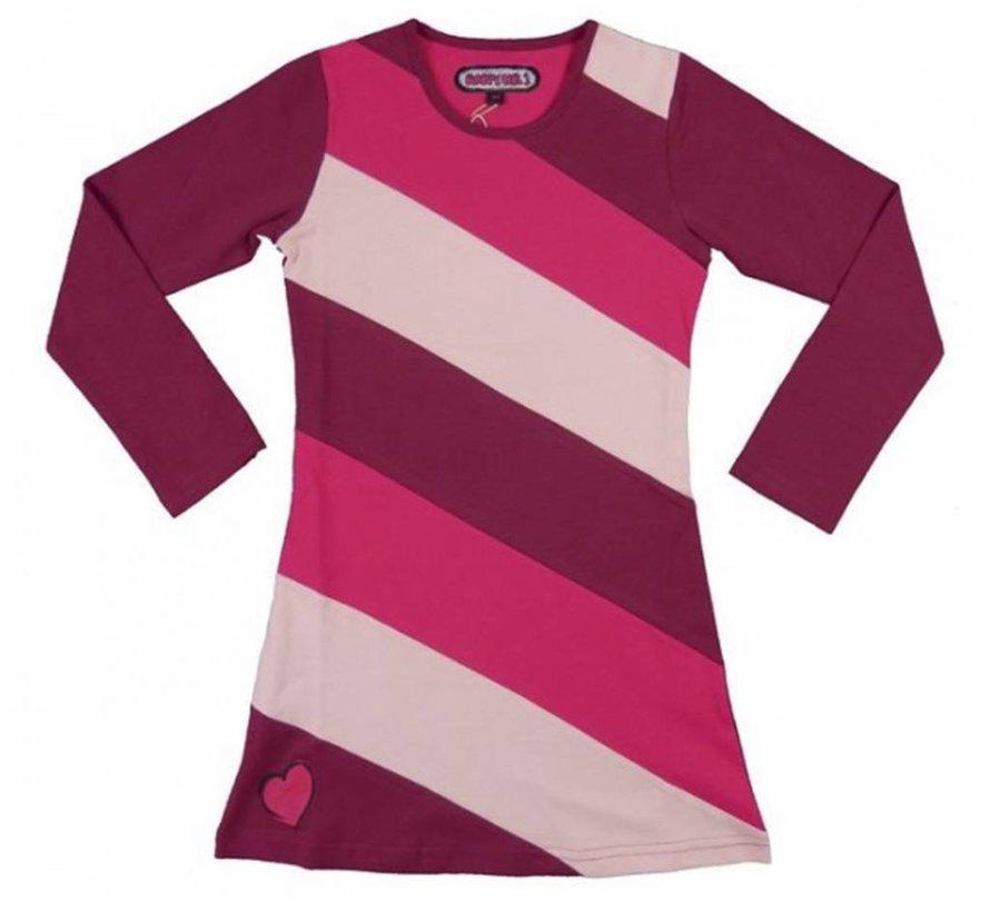 Jurk met roze strepen,Happy
