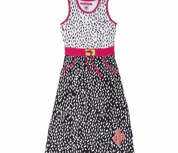 LoveStation22 Maxi jurk Flore, zwart/wit fuchsia