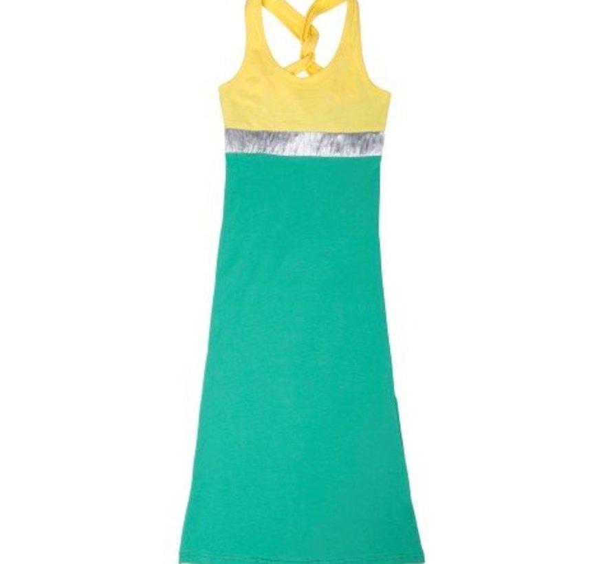 Maxi jurk Burundi neongeel blauw, LavaLava, zomer
