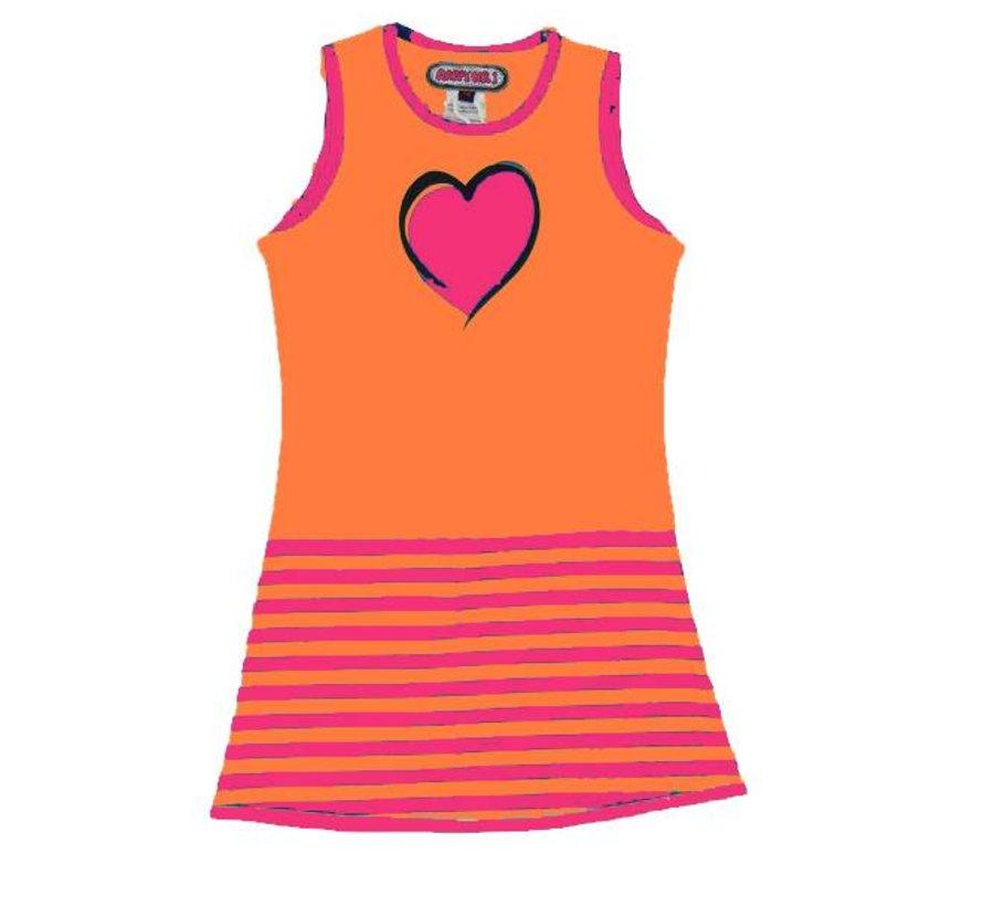Jurkje met hart en streepjes, oranje roze,  Happy nr 1, zomer 2018