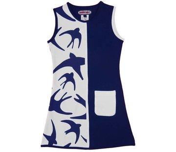 Happy nr 1  Zomerjurkje blauw wit zwaluw