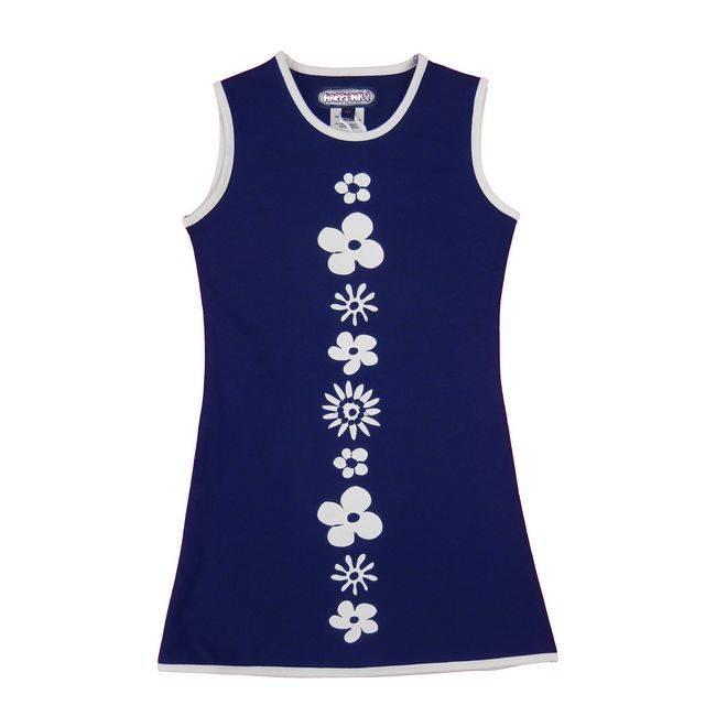Happy nr 1  Bloemenjurkje,  Happy nr 1, zomer , blauw wit