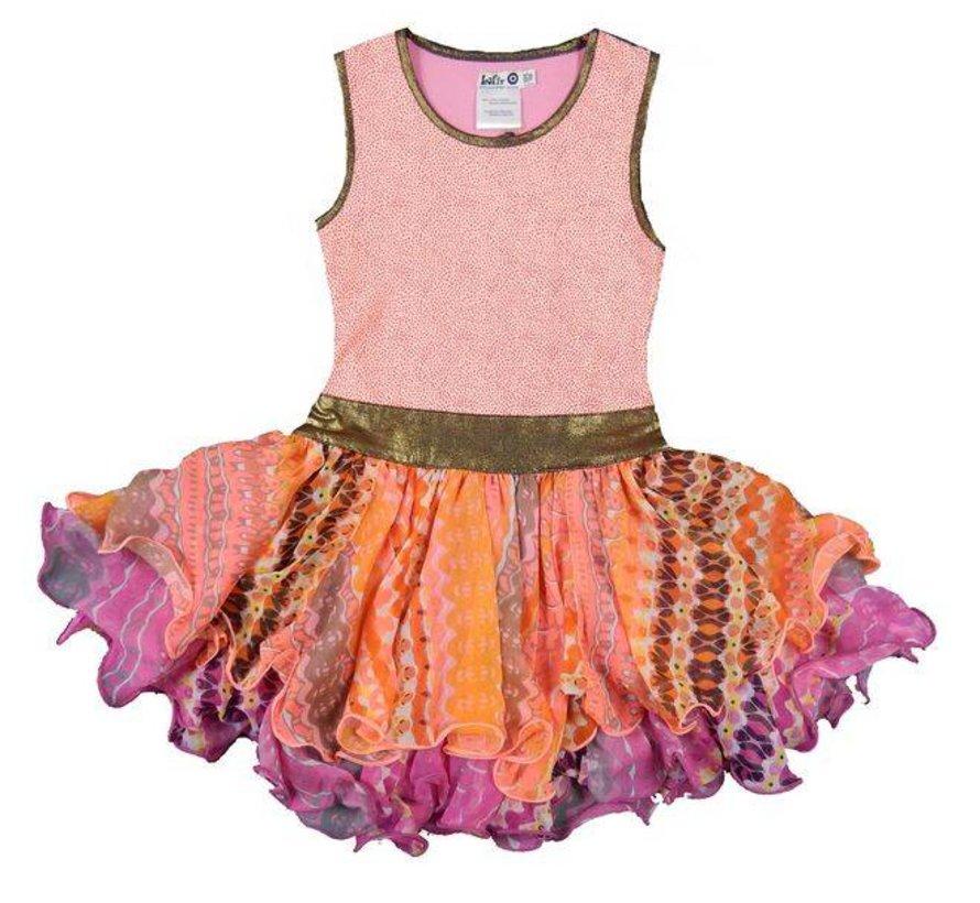 Feestjurk roze en coral van  LoFff zomer gold edition