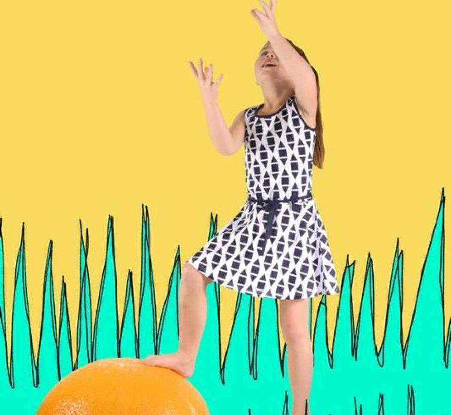 Honinggraat dansjurkje blauw wit,  Happy nr 1, zomer 2018