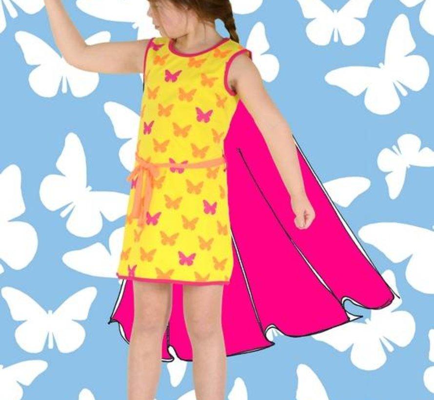 Meisjesjurkje geel met vlinders,  Happy nr 1, zomer 2018