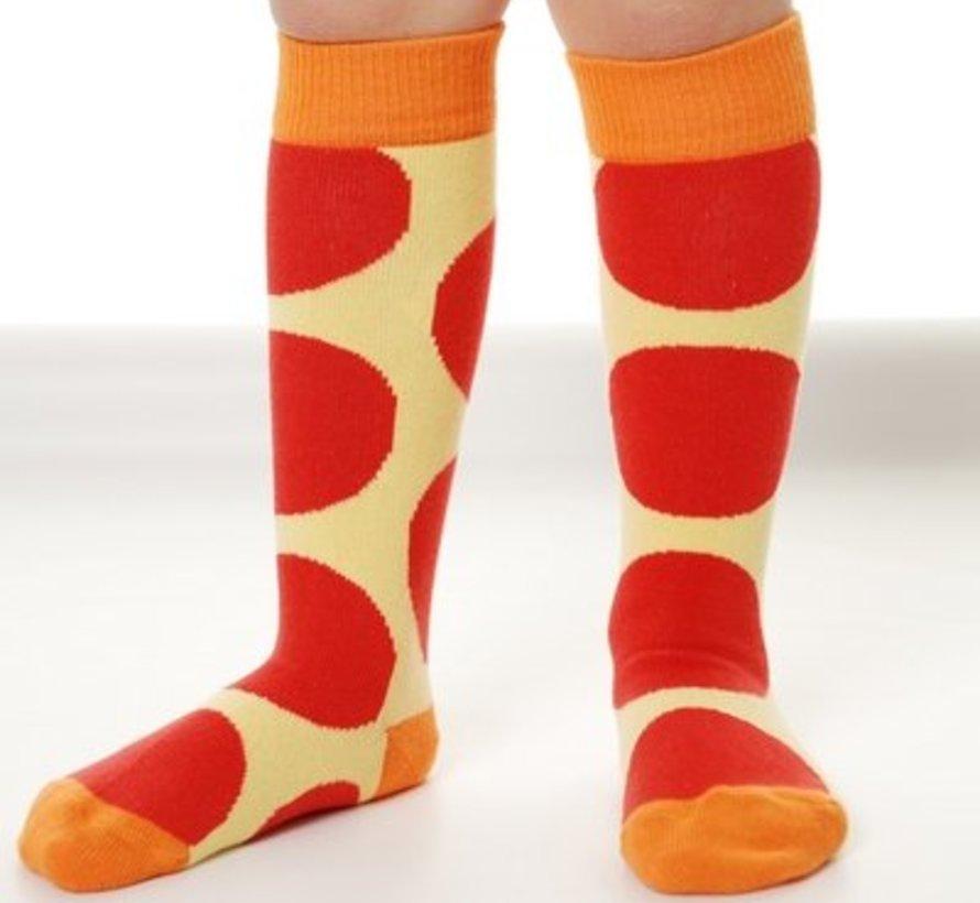 gele sokken met rode bollen kniekousen van DUNS Sweden