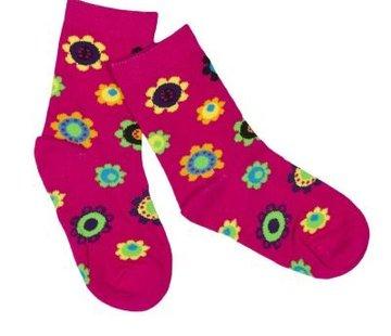 JNY Design sokken roze met bloemen