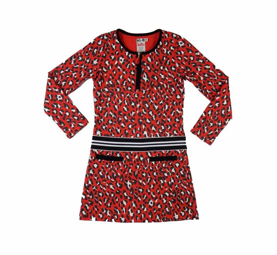 Panther meisjesjurkje in rood