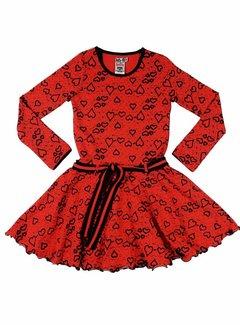 LoFff Hartjesjurkje rood-zwart, maat 92 en 98