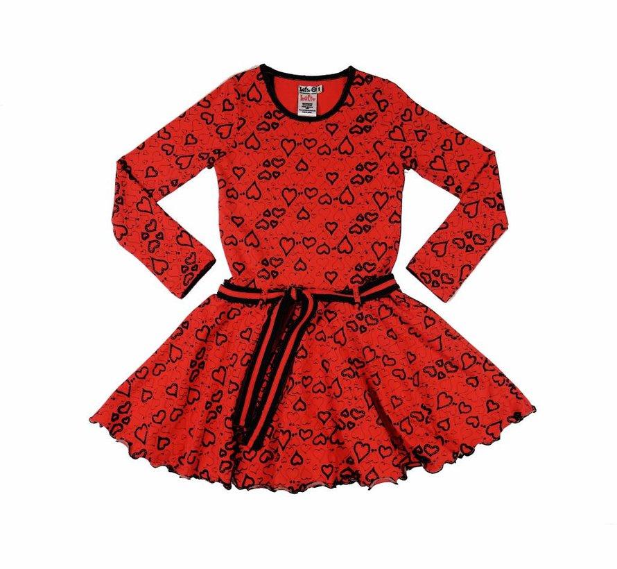 Hartjesjurkje in rood-zwart