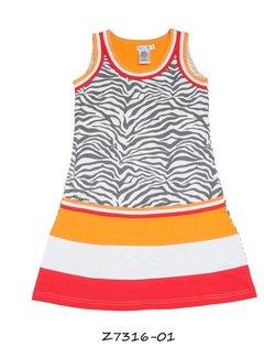LoFff OP=OP: zomerjurkje oranje rode banen met grijze zebraprint