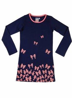 LoFff Blauwe jurk met roze strikjes
