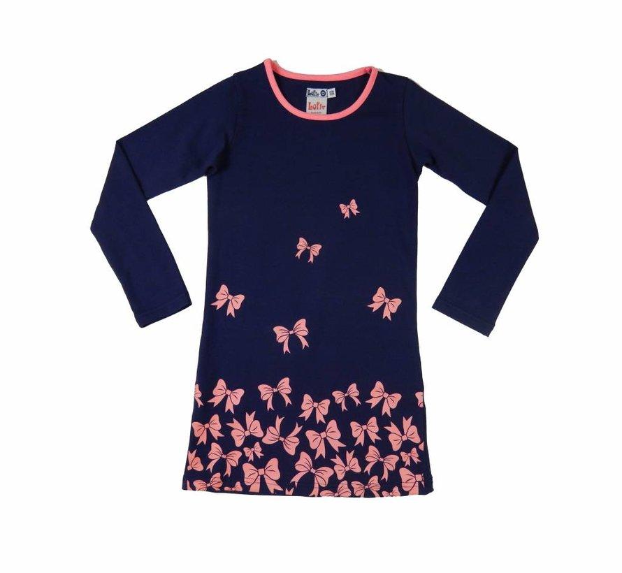 Blauwe jurk met roze strikjes