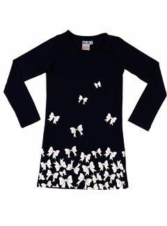 LoFff Zwarte jurk met witte strikjes