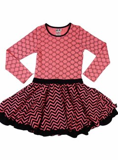 LoFff Feestjurk roze met zwart, mt 98