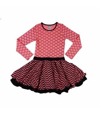 LoFff Feestjurk roze met zwart