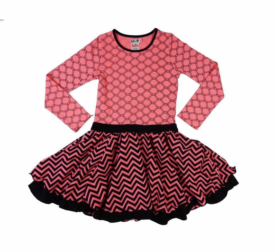 Feestjurk roze met zwart, maat 98