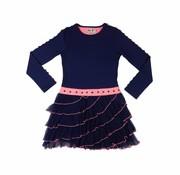 LoFff Ruches jurk blauw roze