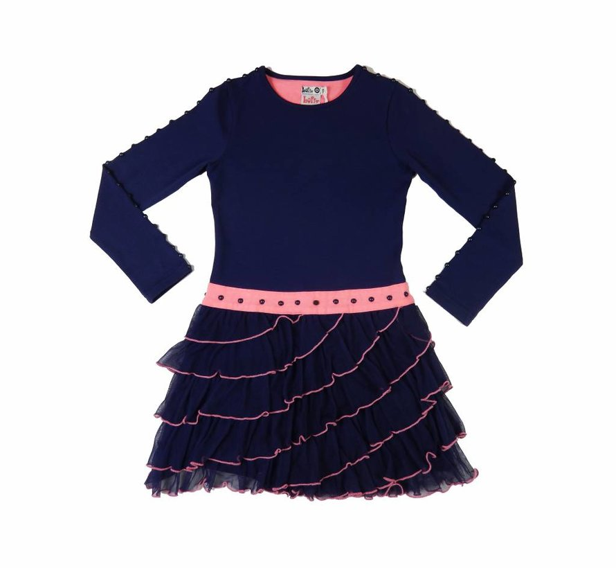 Ruches jurk in blauw met roze
