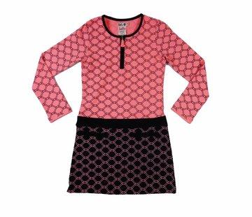 LoFff Honinggraat jurkje roze met zwart