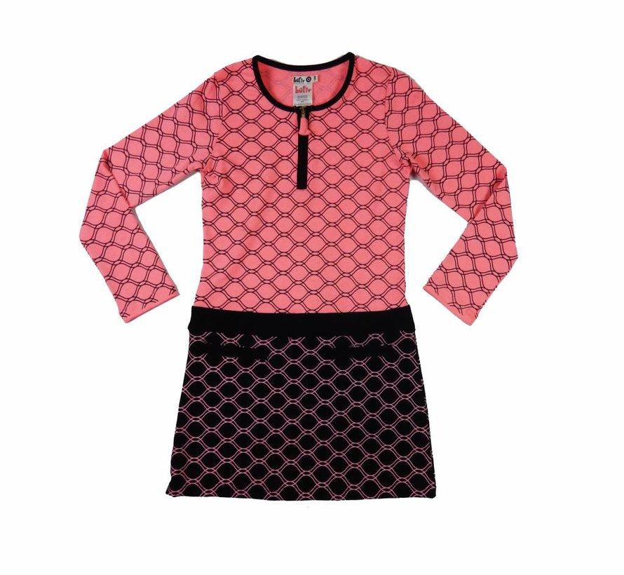 Honinggraat jurkje roze met zwart