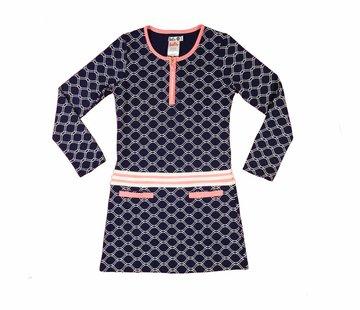 LoFff Blauw roze honinggraat jurkje