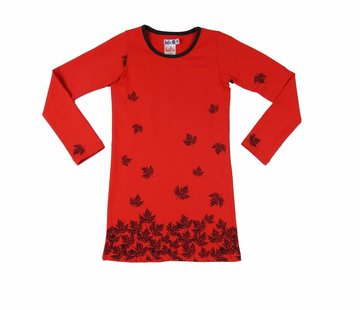 LoFff Rode jurk met blaadjes