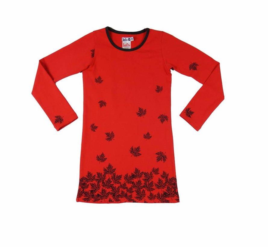 Rode jurk met blaadjes van Lofff winter 2018