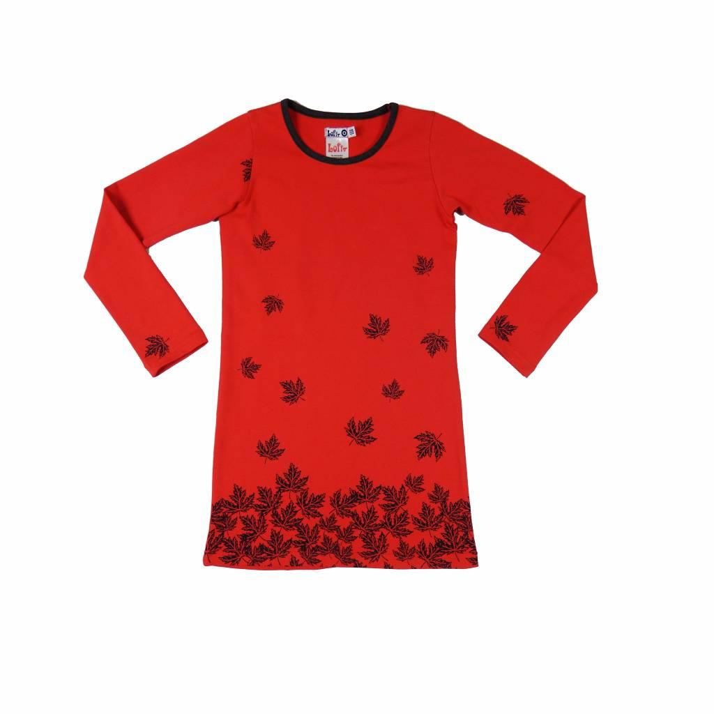 7d73b631a59d5b Rode jurk met blaadjes van Lofff winter 2018 - Kinderjurken.com  by ...