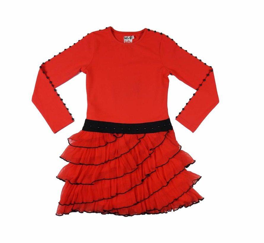 Ruches jurk in rood zwart