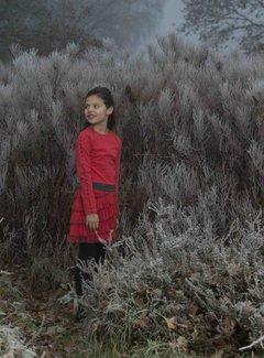 LoFff Ruches jurk rood zwart
