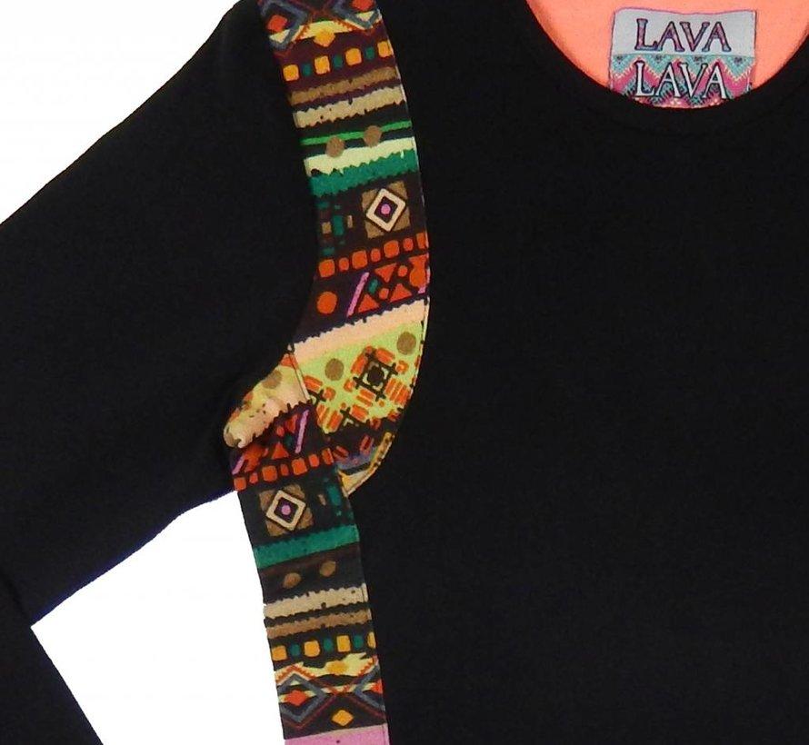 Jurkje zwart  'Acapulco' met inca print, LavaLava, Winter 2018