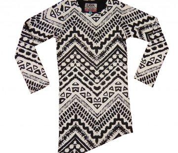 LavaLava Jurkje zwart wit  a-symmetrisch