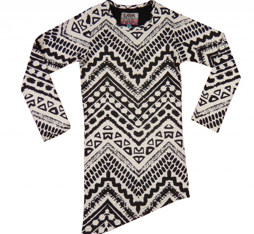 A-symmetrisch jurkje zwart wit  'Aztec', LavaLava, Winter 2018