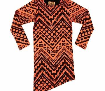LavaLava Jurkje oranje zwart  a-symmetrisch