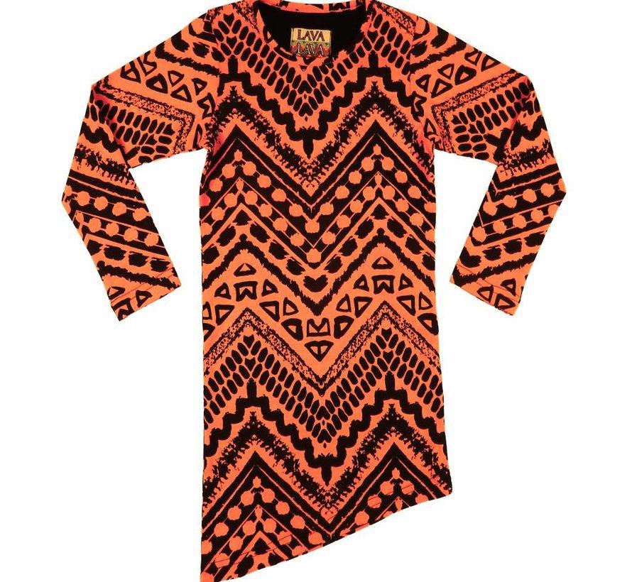 A-symmetrisch jurkje oranje zwart  'Aztec', LavaLava, Winter 2018