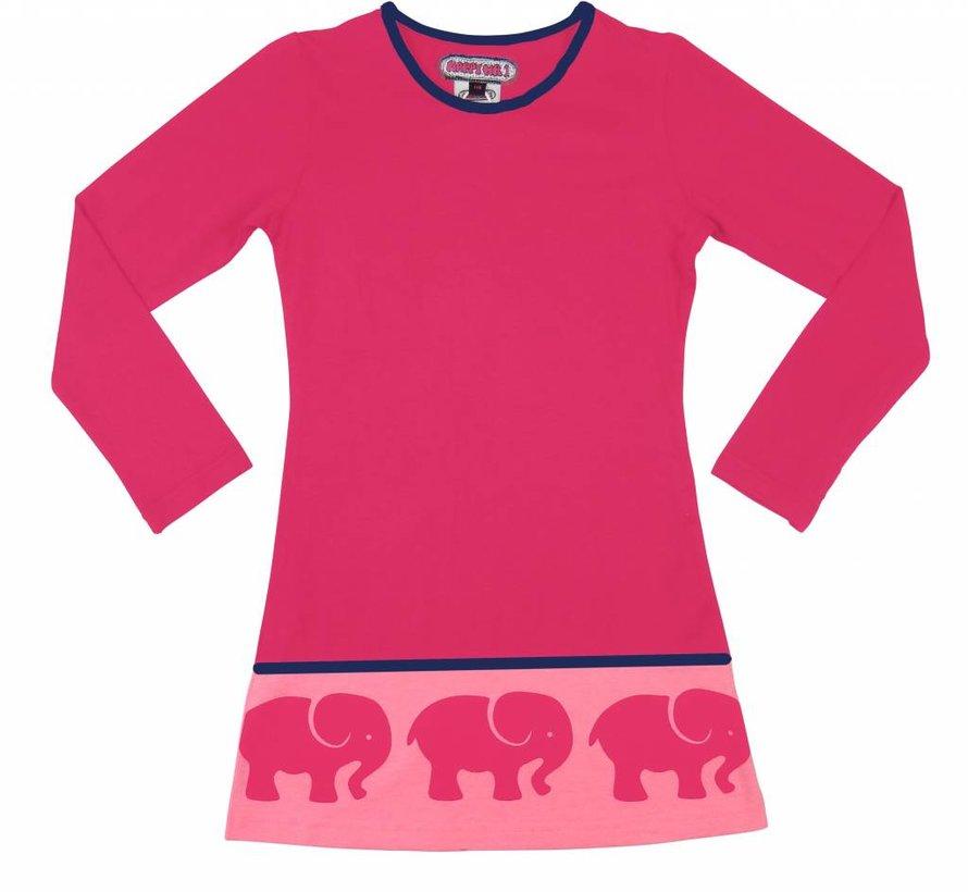 Jurk roze met olifantenrand  van Happy nr 1 winter 2018