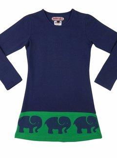 Happy nr 1  Jurk blauw met olifantenrand, mt 86/92