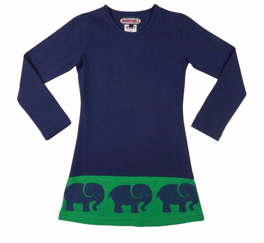 Jurk blauw met olifantenrand  van Happy nr 1 winter 2018