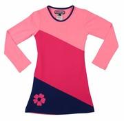 Happy nr 1  Jurk roze met diagonalen vlakken