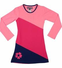 Happy nr 1  Jurk roze met diagonalen vlakken, mt 86/92
