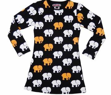 Happy nr 1  Oranje zwart olifantjes jurkje