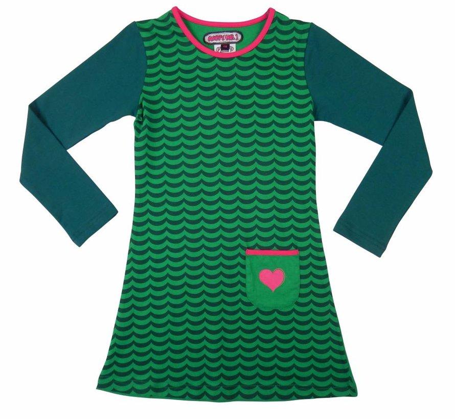 Groen gestreept jurkje van Happy nr 1 winter 2018