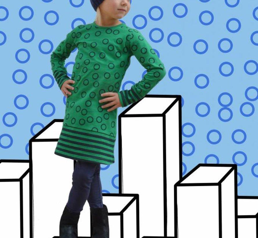 Cirkel jurkje groen en blauw van Happy nr 1 winter 2018