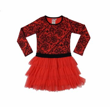 LoFff Rode kerstjurk met tule rok