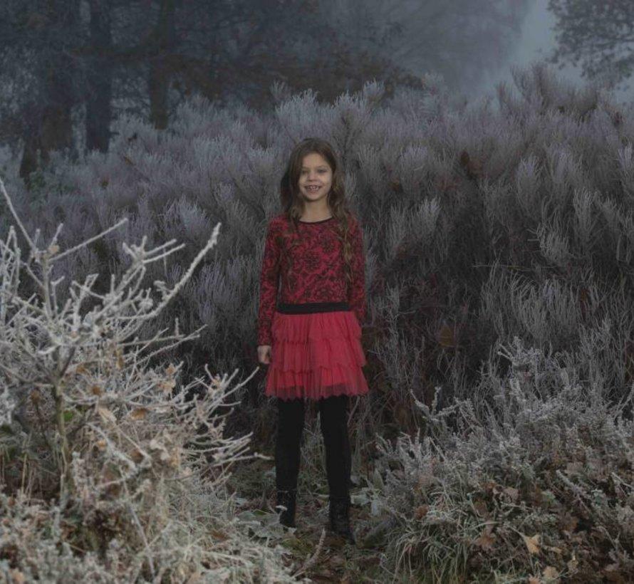 Rode jurk met tule rok